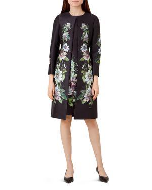 Passiflora Satin Coat in Black Multi