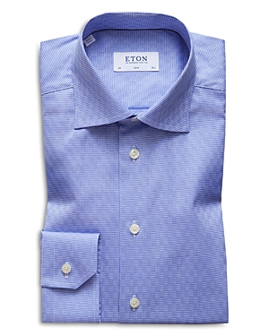 Eton Houndstooth-Check Slim Fit Dress Shirt