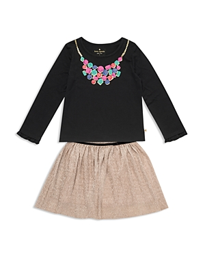 kate spade new york Girls Necklace Tee  Metallic Crepe Skirt Set  Little Kid