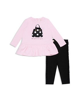 kate spade new york - Girls' Dot Handbag Graphic Top & Ruffle Leggings Set - Little Kid