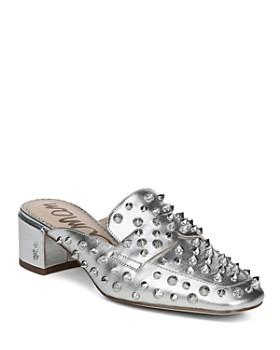 Sam Edelman - Women's Augustus Almond Toe Metallic Leather Mules