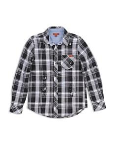 7 For All Mankind - Boys' Distressed Plaid Shirt - Big Kid