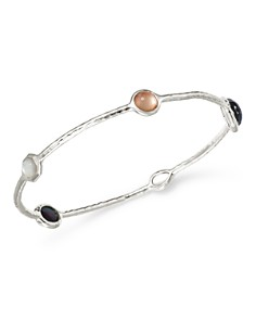 IPPOLITA - Sterling Silver Wonderland Moroccan Dusk Mother-of-Pearl, Clear Quartz & Black Shell Bangle Bracelet