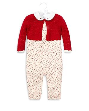 Ralph Lauren Girls Knit Sweater Printed Overalls  LongSleeve Bodysuit Set  Baby
