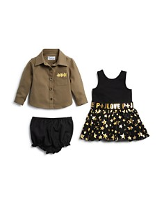 Pippa & Julie - Girls' Military Shirt, Metallic-Star Tutu Dress & Bloomers Set - Baby
