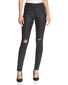 AG - Farrah Coated Ankle Skinny Jeans in Black Coated Ripped
