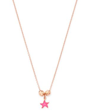 DODO Pebbles & Starfish Pendant Necklace, 15.7 in Pink/Rose Gold