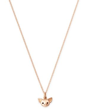 DODO Chihuahua Pendant Necklace, 15.7 in Rose Gold