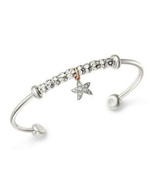 DODO Sterling Silver Starfish Charm Diamond Cuff in White/Silver