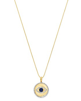 "KC Designs - 14K Yellow Gold Blue Sapphire and Diamond Evil Eye Pendant Necklace, 18"""