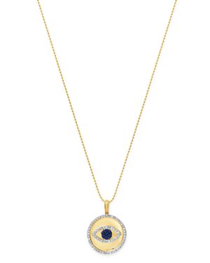 KC DESIGNS 14K Yellow Gold Blue Sapphire And Diamond Evil Eye Pendant Necklace, 18 in Blue/Gold