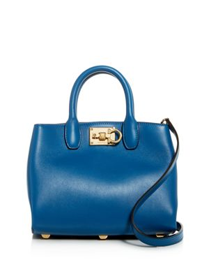 Mini Leather Satchel in Azure Blue/Gold