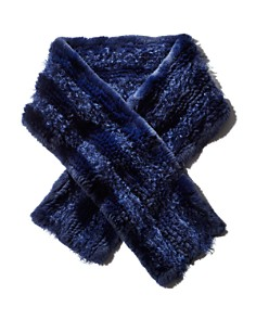 Maximilian Furs - Knit Rabbit Fur Scarf with Kalgan Lamb Shearling Insets - 100% Exclusive