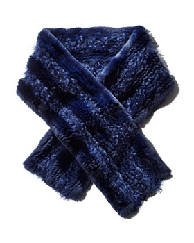 Maximilian Furs - Knit Rabbit Fur Scarf with Kalgan Lamb Shearling Insets - 100% Exclusive