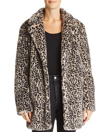 AQUA - Leopard Print Faux Fur Jacket - 100% Exclusive