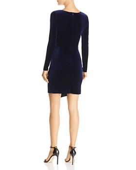 AQUA - Twist-Front Long-Sleeve Velvet Dress - 100% Exclusive