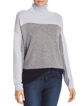 C by Bloomingdale's - Color-Block Cashmere Turtleneck Sweater - 100% Exclusive