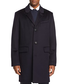 Cole Haan - Luxe Leather-Trimmed Lambswool Coat