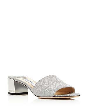 Jimmy Choo Women's Block Heel Glitter Leather Sandals