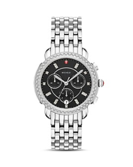 MICHELE - Sidney Black Mother-of-Pearl & Diamond Chronograph Watch Head, 38mm
