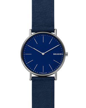 SKAGEN Men'S Signatur Navy Blue Leather Strap Watch 40Mm