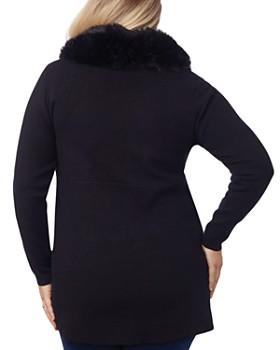 Belldini Plus - Faux-Fur Collared Asymmetric Coat