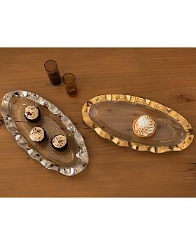 Annieglass - Ruffled 24K Gold & Glass Mini Oval Tray