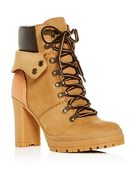 See by Chloé - Women's Cargo Hiker Round Toe Lace Up Leather Boots