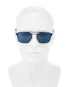 Burberry - Men's Mirrored Brow Bar Square Aviator Sunglasses, 56mm