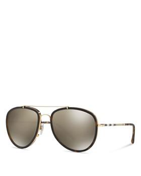 813763b40be ... 58mm Burberry - Women s Polarized Check Aviator Sunglasses