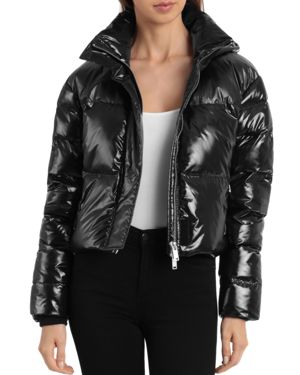 BAGATELLE.NYC Bagatelle. Nyc Cropped Hooded Puffer Jacket in Black
