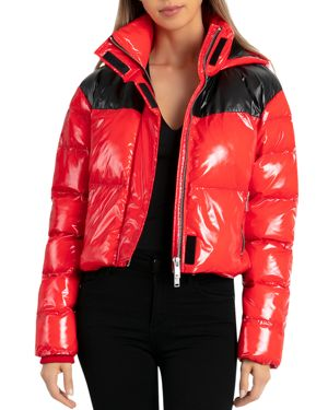 BAGATELLE.NYC Bagatelle. Nyc Cropped Hooded Puffer Jacket in Red