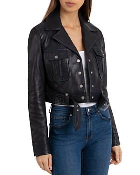 BAGATELLE.NYC - Cropped Leather Trucket Jacket