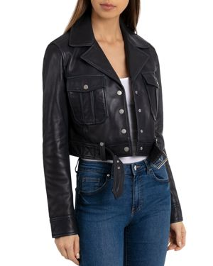 BAGATELLE.NYC Bagatelle. Nyc Cropped Leather Trucket Jacket in Graphite