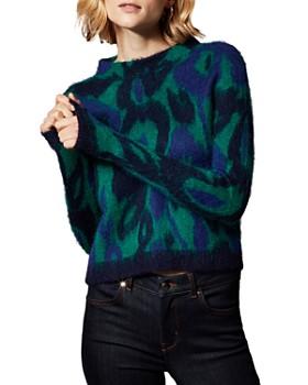 KAREN MILLEN - Brushed Leopard Jacquard Cropped Sweater
