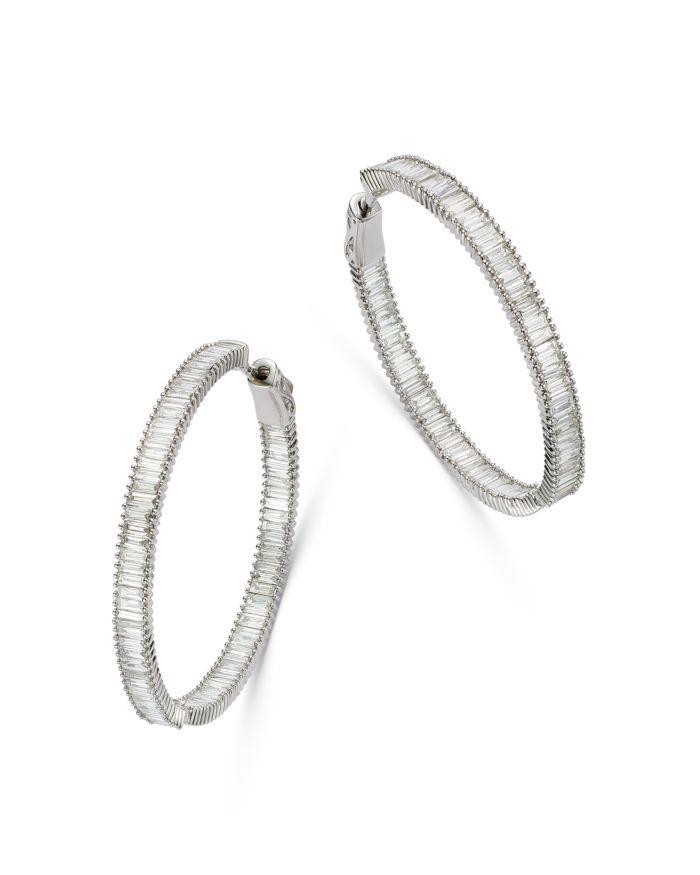 Bloomingdale's Diamond Baguette Hoop Earrings in 14K White Gold, 3.0 ct. t.w. - 100% Exclusive  | Bloomingdale's
