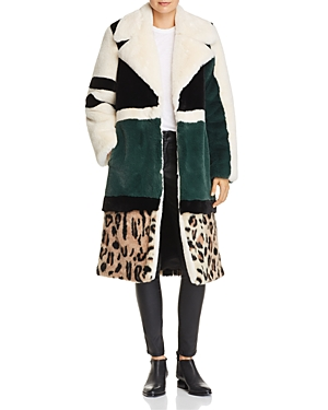 Heurueh Razor Color-Block Faux-Fur Coat