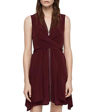 Allsaints Jayda Zip-Front Silk Dress