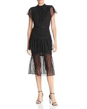 JOA - Tiered Illusion-Hem Mermaid Dress