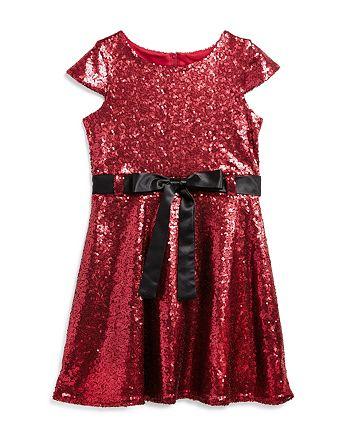 US Angels - Girls' Sequin Dress with Satin Sash - Little Kid