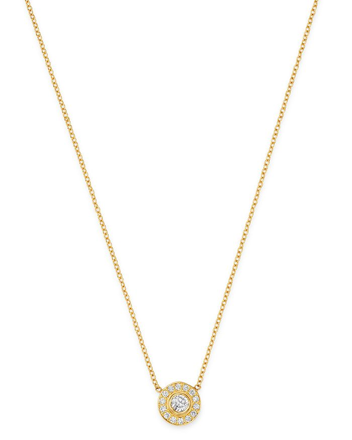 ZoË Chicco 14K Yellow Gold Diamond Pendant Necklace, 16 In White/Gold