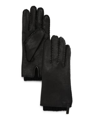 HESTRA Tony Double-Layered Leather Gloves in Black