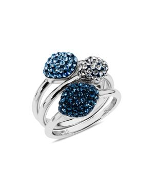 ATELIER SWAROVSKI Moselle Set Of 3 Stacking Rings in Blue/Silver