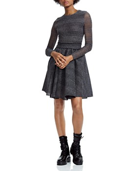 Maje - Royale Mesh-Inset Fit-and-Flare Mini Dress