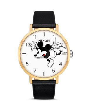 NIXON X Disney Arrow Mickey Leather Strap Watch, 38Mm in Black/ White/ Gold