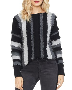 VINCE CAMUTO Long Sleeve Colorblock Sweater in Rich Black