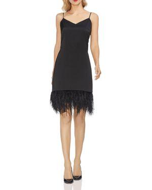 Feather-Hem Sleeveless Dress in Rich Black