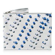 Gray Malin - Blue & White Umbrellas Leather Zip Pouch