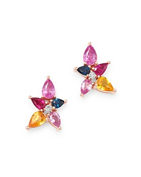 1d125ce34 Bloomingdale's - Multicolor Sapphire & Diamond Stud Earrings in 14K Rose  Gold - 100% Exclusive ...