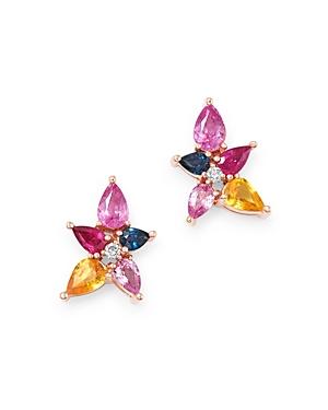 Bloomingdale's Multicolor Sapphire & Diamond Stud Earrings in 14K Rose Gold - 100% Exclusive